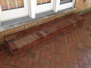 BRICK PAVER STEP, HERRINGBONE PATTERN